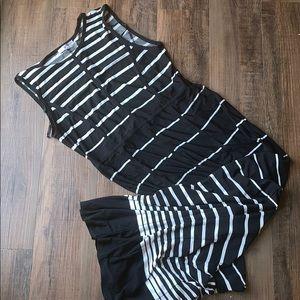 Sandra Darren black & white striped maxi dress